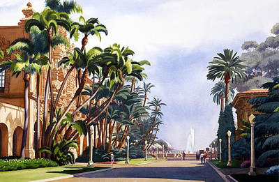 Fountain Wall Art - Painting - El Prado In Balboa Park by Mary Helmreich