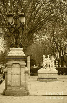 Victorian Town Digital Art - El Prado Boulevard Madrid Spain by James Brunker