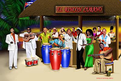 Roberto Mixed Media - El Rincon Cubano by Marlon Ramirez