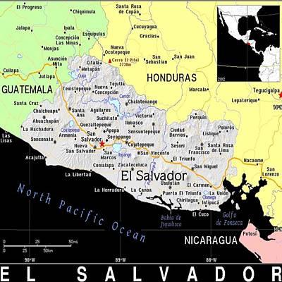 Salvador Mixed Media - El Salvador Exotic Map by Florene Welebny