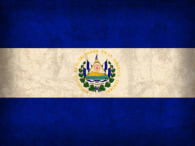 El Salvador Flag Vintage Distressed Finish Art Print by Design Turnpike