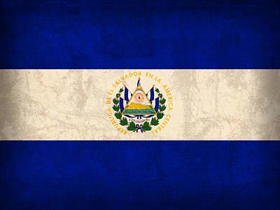 El Salvador Flag Vintage Distressed Finish Art Print