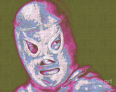El Santo The Masked Wrestler 20130218v2m168 Art Print by Wingsdomain Art and Photography