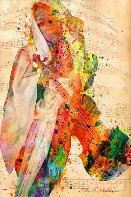 Signed Digital Art - El Violin  by Mark Ashkenazi