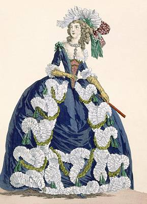 Aristocrat Drawing - Elaborate Royal Court Dress In Navy by Augustin de Saint-Aubin