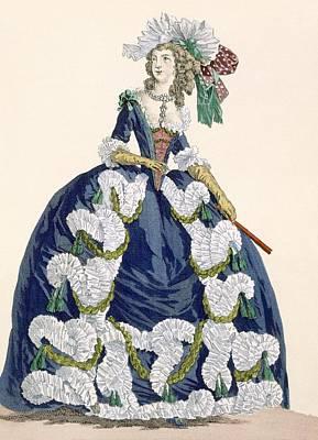Royal Court Drawing - Elaborate Royal Court Dress In Navy by Augustin de Saint-Aubin
