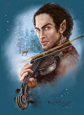 Fairy Poem Wall Art - Painting - Elandorr Playing Violin by April Lily