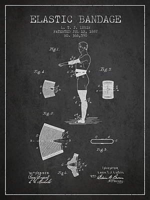 Elastic Digital Art - Elastic Bandage Patent From 1887 - Charcoal by Aged Pixel