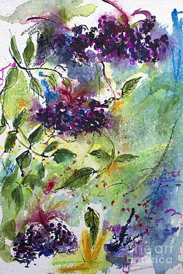 Painting - Elderberries Holunder Beeren Wild Fruit by Ginette Callaway