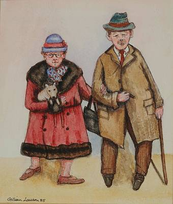 Fedora Photograph - Elderly Couple, 1985 Watercolour On Paper by Gillian Lawson