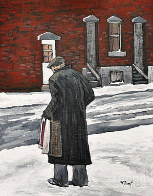 Elderly Gentleman  In Pointe St. Charles Art Print by Reb Frost