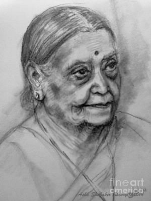 Drawing - Elderly Lady by Asha Sudhaker Shenoy