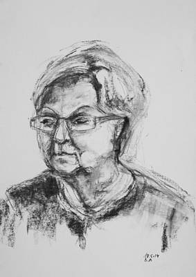 Drawing - Elderly Lady With Glasses by Barbara Pommerenke