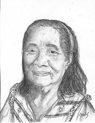 Drawing - Elderly Marshallese 2 by Lew Davis