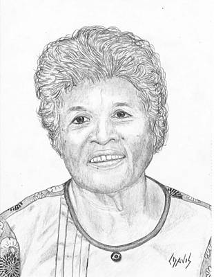 Drawing - Elderly Marshallese 3 by Lew Davis