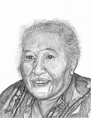Drawing - Elderly Marshallese 4 by Lew Davis