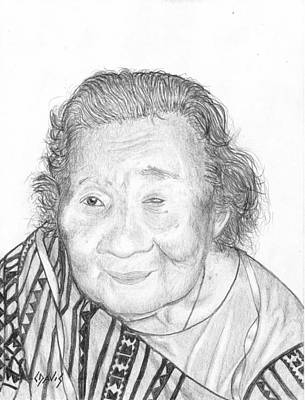 Drawing - Elderly Marshallese 5 by Lew Davis