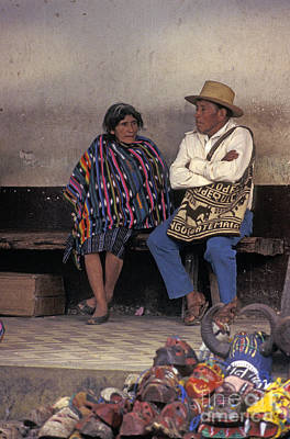 Photograph - Elderly Mayan Couple Chichicastenango Guatemala by John  Mitchell