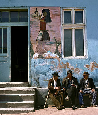 Photograph - Elderly Men Chating On A Bench In Front Of A Cafe. Serbia by Juan Carlos Ferro Duque