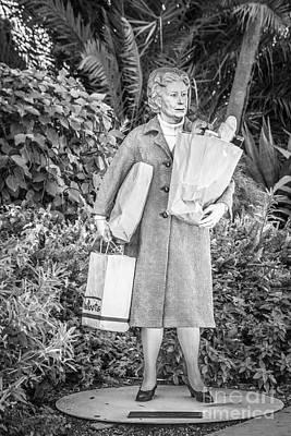 Elderly Shopper Statue Key West - Black And White Art Print by Ian Monk