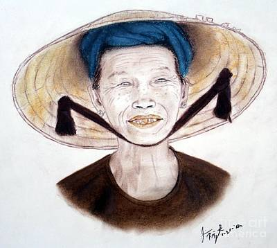 Elderly Vietnamese Woman Wearing A Conical Hat Art Print by Jim Fitzpatrick