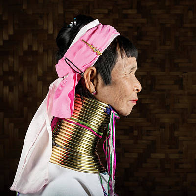 Photograph - Elderly Woman From Padaung Hill Tribe by Martin Puddy