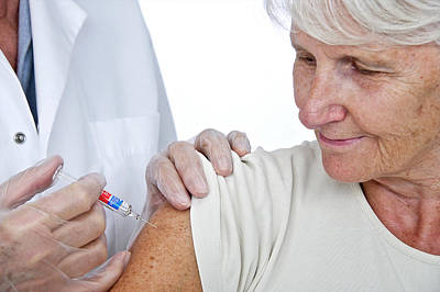 Elderly Woman Having An Injection Art Print