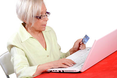 Elderly Woman Shopping Online Art Print