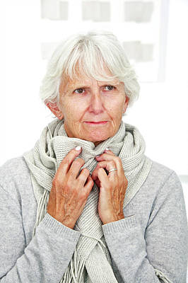 Shivering Photograph - Elderly Woman Wearing A Scarf by Lea Paterson