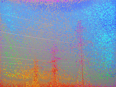Electic  Power Lines In Fog Ae 2  Art Print