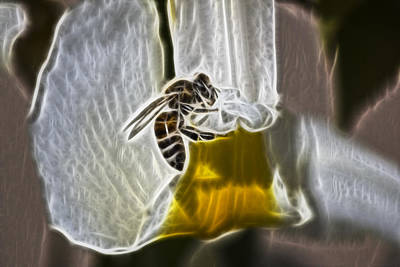 Digital Art - Electric Bee by Photographic Art by Russel Ray Photos