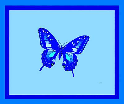 Electric Blue Butterfly 2 Borders Art Print by L Brown