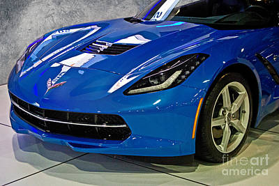 Electric Blue Corvette Art Print