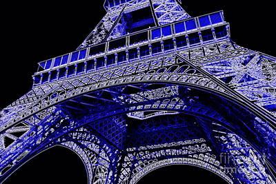 Photograph - Electric Blue Eiffel Tower  by Carol Groenen