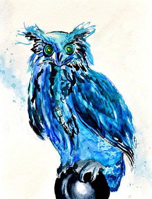 Electric Blue Owl Art Print by Beverley Harper Tinsley