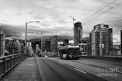 electric bus on granville street bridge over false creek Vancouver BC Canada Art Print