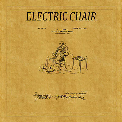 Photograph - Electric Chair Patent 3 by Andrew Fare
