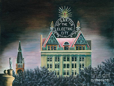 City Hall Painting - Electric City At Night by Austin Burke