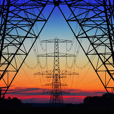 Power Towers Photograph - Electric Coloured Sky by Riekus Reinders