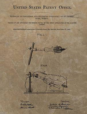 Electric Current Patent Art Print by Dan Sproul