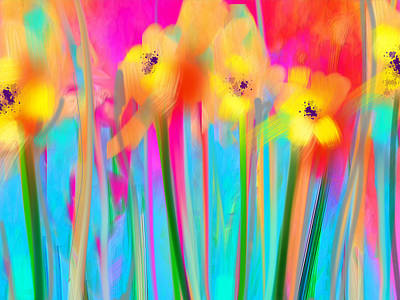 Electric Daisies  Print by Maureen Kealy