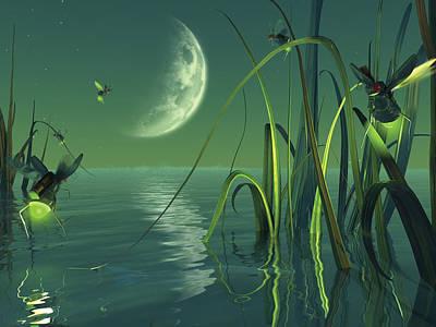 Crescent Moon Digital Art - Electric Fireflies by Vanessa Bates