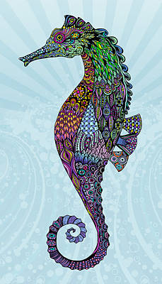 Digital Art - Electric Gentleman Seahorse by Tammy Wetzel