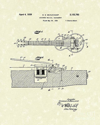 Electric Drawing - Electric Guitar 1939 Patent Art by Prior Art Design