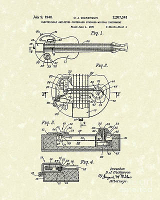 Stringed Instrument Drawing - Electric Guitar 1940 Patent Art by Prior Art Design
