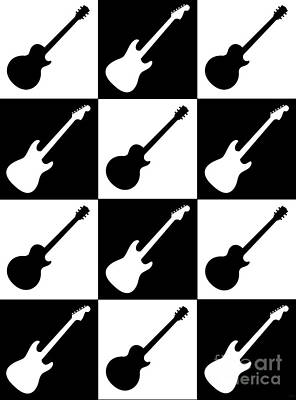 Electric Guitar Checkerboard Art Print