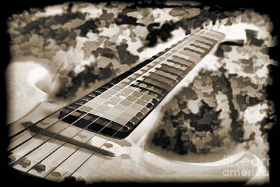 Painting - Electric Guitar Painting Photograph In Sepia 3318.01 by M K  Miller