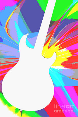 Photograph - Electric Guitar Photograph Or Picture Silhouette In Color 3317.0 by M K Miller