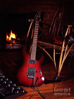 Processor Photograph - Electric Guitar Propped On Chair Near Fireplace by Oleksiy Maksymenko