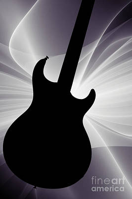 Photograph - Electric Guitar Silhouette Photograph In Sepia 3317.01 by M K  Miller
